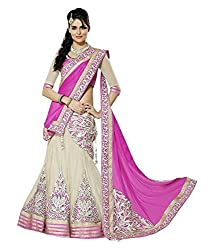 Shubh Women's Net Semi Stitched Dress Material (Shubh_170_Beige_Free Size)