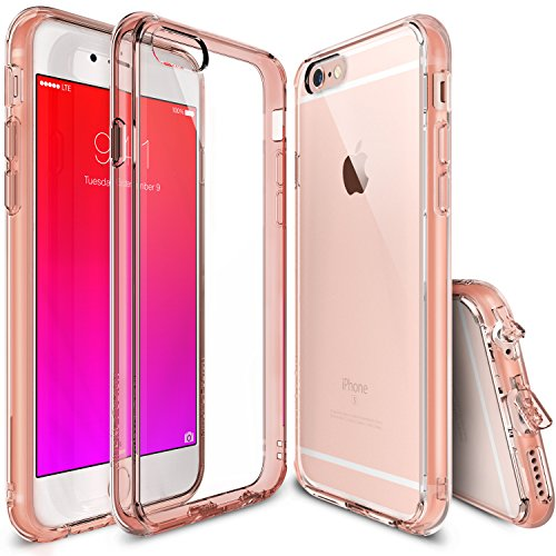 iPhone 6s Plus Case, Ringke [Fusion] Clear PC Back TPU Bumper w/ Screen Protector [Drop Protection/Shock Absorption Technology][Attached Dust Cap] For Apple iPhone 6s Plus / 6 Plus - Rose Gold Crystal
