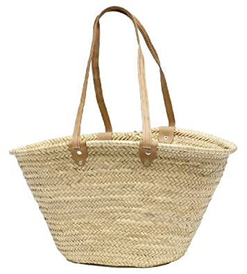 "Moroccan Straw Market Shoulder Bag w/Leather Shoulder Straps - 21""Lx14""H - Palma"