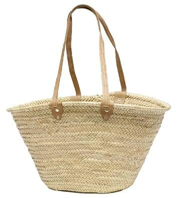 """Moroccan Straw Market Shoulder Bag w/Leather Shoulder Straps, 21""""Lx14""""H - Palma"""