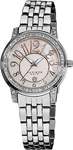 Akribos XXIV Women's AK586SS Lady Diamond Stainless Steel Sparkle Mother-Of-Pearl Quartz Watch