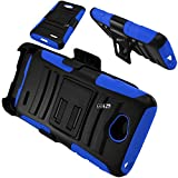 LG Ultimate 2 Case 3-items Bundle-HERCULES Dual- Layer Hard/Gel Hybrid Kickstand Armor Case w/ Holster (Black/Blue)+ICE-CLEAR(TM) Screen Protector Shield(Ultra Clear)+Touch Screen Stylus