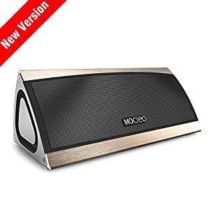 (Last Chance for Christmas) MOCREO® Best Portable Bluetooth Speaker W/ 3D Surround Stereo Sound & Full Metal Housing - Rechargeable W/ Latest CSR Bluetooth 4.0 & Hands-free & 8hrs Playtime & 30ft Bluetooth Range Woking for iPhone 6 Plus 5s/5C/4s;Samsung galaxy S5/S4/S3,Samsung Note 2;HTC M8,iPad Air/5;iPad mini Retina;iPod,Google Nexus 7,Nexus 5,MP3 Player and More-MOSOUND BASS (Golden)