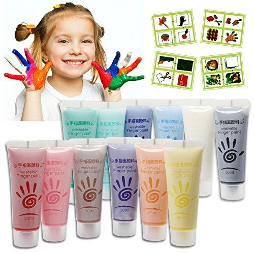 shackgear-12-colors-washable-fingerpaint-art-set-non-toxic-non-smell-finger-paints-toys-with-brushes