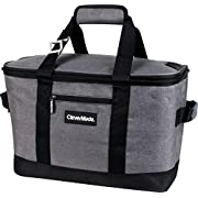 CleverMade SnapBasket 50 Can, Soft-Sided Collapsible Cooler: 30 Liter Insulated Tote Bag, Heathered Charcoal/Black