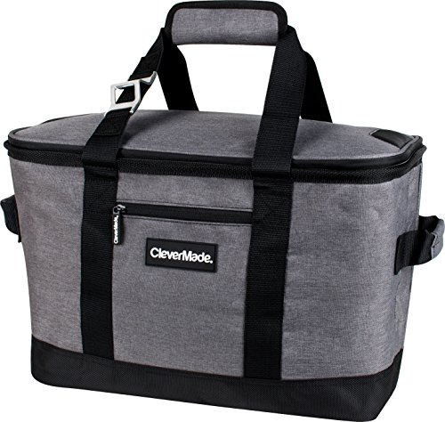 CleverMade SnapBasket Collapsible 50 Can Soft-Sided Cooler: 30 Liter Insulated Tote Bag, Heathered Charcoal/Black (Insulated Ice Bin compare prices)