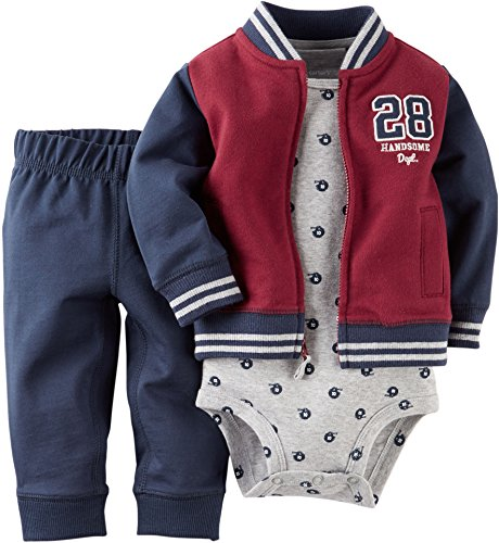 Carters Baby Boys 3-pc. Varsity Style Cardigan Set 12 Month Burgundy/blue