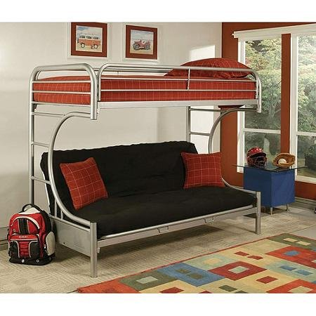 Cool Eclipse Twin Over Full Futon Bunk Bed with a Twin Mattress and a Full Futon Mattress
