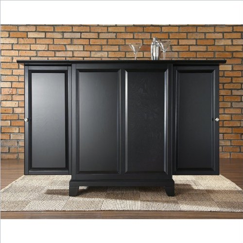 Crosley Furniture Newport Expandable Bar Cabinet in Black Finish