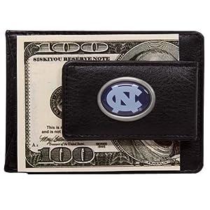 NCAA North Carolina Tar Heels (UNC) Black Leather Card Holder and Magnetic Money Clip