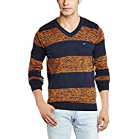 Basics Men's Cotton Sweater (8907054761586_15BSW32771_X-Large_Medieval Navy and orange)