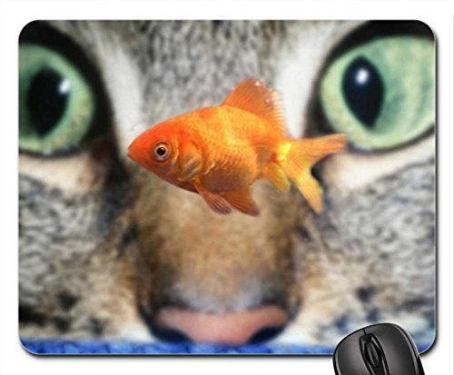 Cat watching a goldfish Mouse Pad, Mousepad (Cats Mouse Pad)