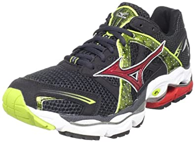 Mizuno Men's Wave Enigma Running Shoe,Anthracite/Lime Punch-Chinese Red,9.5 M US