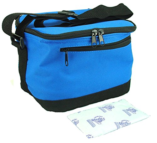 Insulated Lunch Tote Bag Cooler Bag With 8 Oz Nordic Ice Freezer Ice Pack. Reusable For Kids, Teens, And Adults. Bundle 2 Items. (Royal) front-1008884