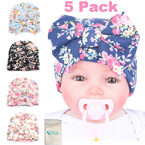 Gellwhu 5PCS Pack Newborn Baby Flower Bowknot Hospital Hat (Personalized Newborn Girl compare prices)