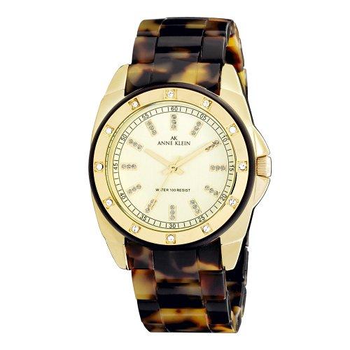 AK Anne Klein Women's 109178CHTO Gold-Tone Swarovski Crystal Accented Tortoise Plastic Watch
