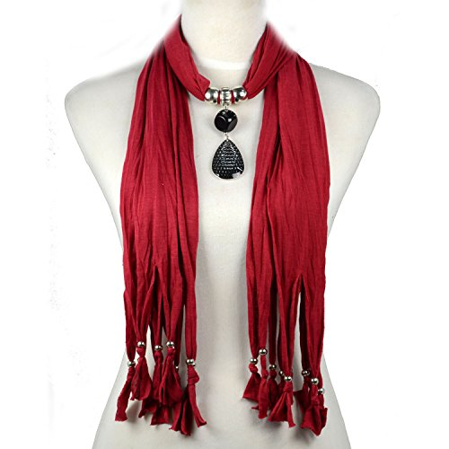Huan Xun Women's Large Drop Pendant Jewelry Necklace Scarf