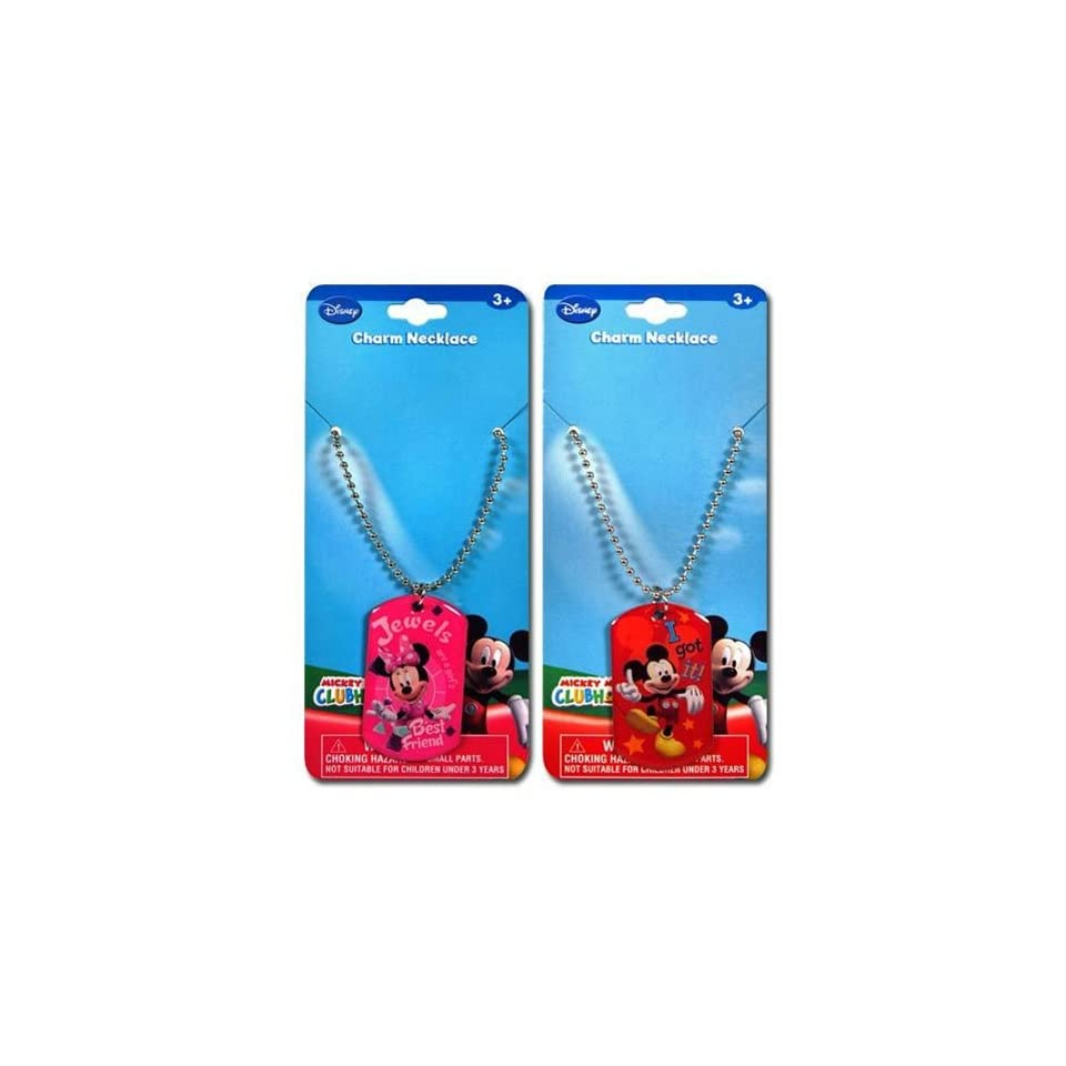 12 Pack Disney Mickey & Minnie Mouse Metal Dogtag Charm Necklaces
