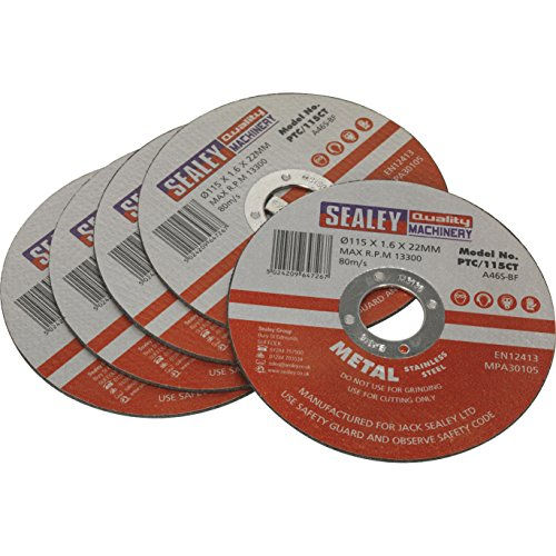 Sealey PTC/115CT5 Cutting Disc, Dia 115 x 1.6 mm, 22 mm Bore, Set of 5