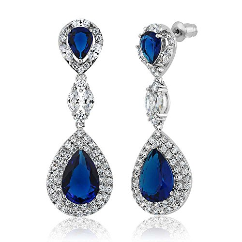 Pear-Shape-Blue-Simulated-Sapphire-and-Zirconia-Dangle-Chandelier-Earrings-2