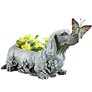 Dachshund With Butterfly Sculpted Garden Planter