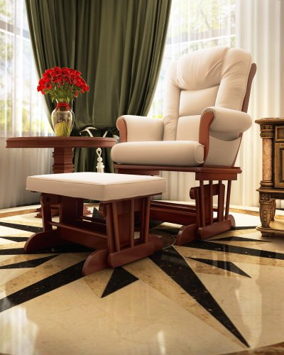 Save on Naomi Home Deluxe Sleigh Glider and Ottoman Set Cherry/Cream