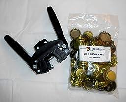 Black Beauty Bottle Capper With Gold Crown Oxygen Caps (144)