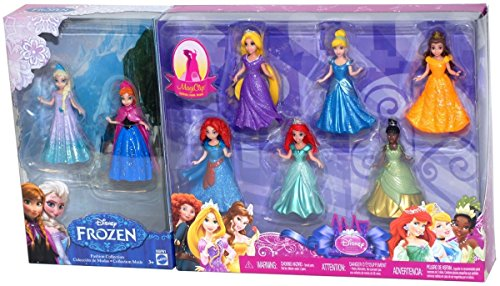 Disney Princess 8-Piece MagiClip Fashion Collection Gift Set - Includes Frozen's Elsa & Anna, Cinderella, Tangled's Rapunzel, Beauty and the Beast's Belle, Little Mermaid's Ariel, Princess and the Frog's Tiana, and Brave's Merida