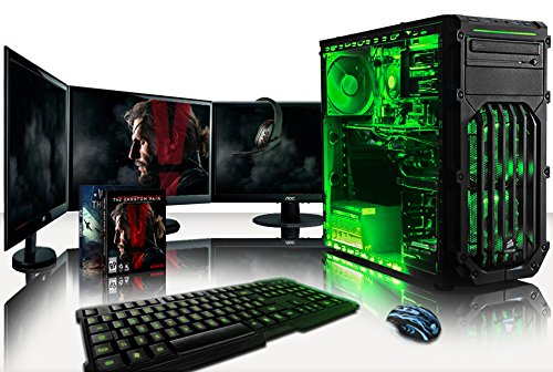 vibox warrior paquet 7 4 0ghz quad core gamer gaming pc ordinateur de bureau avec 3x ecrans. Black Bedroom Furniture Sets. Home Design Ideas