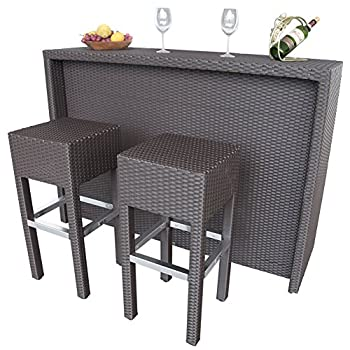 Abba Patio 3 PC Outdoor Wicker Bar Set Patio Furniture Set with 1 Table and 2 Bar Stools, Brown