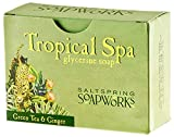 Saltspring Soapworks All Natural Tropical Spa Glycerin Soap Bar, Green Tea, 5 Ounce