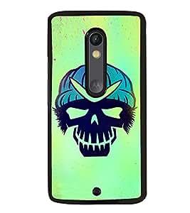 Fuson Premium 2D Back Case Cover Skull With Blue Background Degined For Motoroal Moto X Play