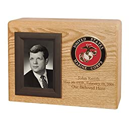 Wood Cremation Urn - Oak Picture Military (Army)