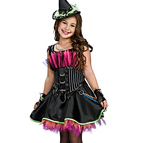 Himine Halloween Girl's Vampire Princess Witch Costumes Dress/ Hat/Gloves (S) (Elf Princess Costume Kit)