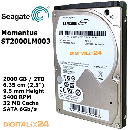 "2000 GB / 2TB Seagate Momentus ST2000LM003 Mobile Internal SATA Hard Disk Drive (2 TB - 6,35 cm (2,5"") - 9,5mm Height - 5400 RPM - SATA 6Gb/s - 32 MB Cache). Worlds first 2TB / 2,5"" slim 9,5 mm Mobile Hard Drive (SAMSUNG Spinpoint M9T HN-M201RAD)"