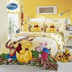Sisbay Winnie the Pooh Duvet Cover Set,Boys Girls Queen Cartoon Bedding,Kids Yellow Blue Striped Bed Sheet
