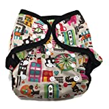 BB2 Baby One Size Printed Black Gussets Snaps Cloth Diaper Cover for Prefolds (One Size, Circus)
