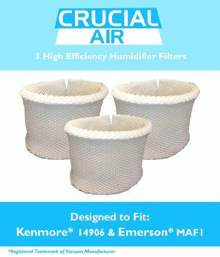 3 Kenmore & Emerson Humidifier Wick Filters, Fits Kenmore EF1 14906 & Emerson MAF1, Compare to Kenmore Part # 42-14906, 14906, EF1, MAF1, Designed & Engineered by Crucial Air, Model: , Hardware Store