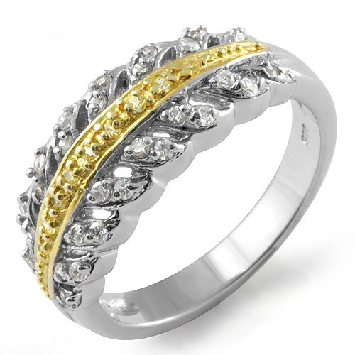 Cubic Zirconia Round Two Tone Stone Anniversary Wedding Ring Band Sterling Silver 925 Sz6
