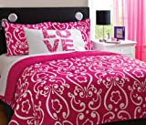 Girl Pink White Damask Love Full Queen Comforter Set (4pc)