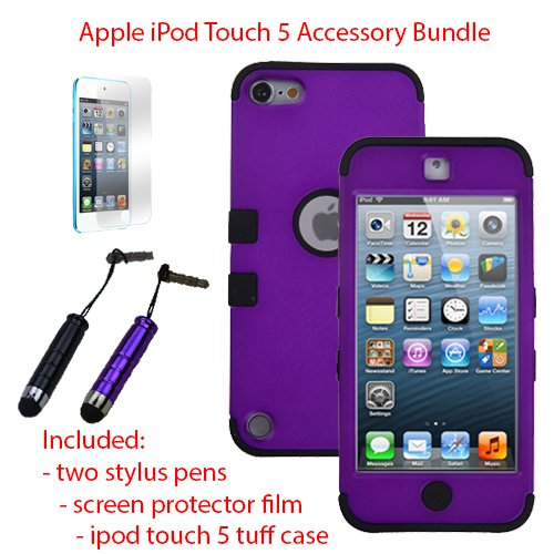 Miniturtle, Premium Sleek Dual Layer 2 In 1 Hybrid Protective Tuff Case Cover, Two Mini Stylus Pen, And Screen Protector Film For Apple Ipod Touch 5 5Th Generation (Purple / Black)