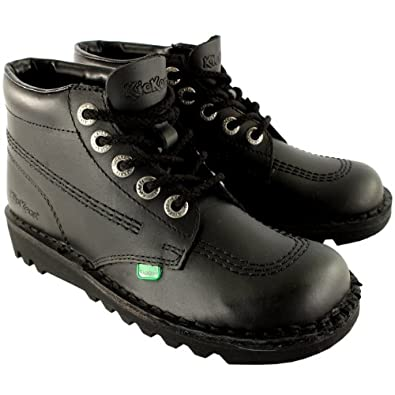 Mens Kickers Kick Hi Leather Classic Oxfords Office Work Boots Shoes - Black/Black - 7.5