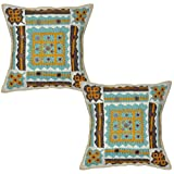 Decorative Patchwork Mirror Work Embroidery Cotton Cushion Cover 16 Inches 2 Pcs