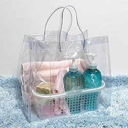 カゴ付き 抗菌 ビニールバッグ 温泉バッグ  透明 日本製