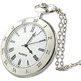 (ユーユーピフア)YouYouPifa 懐中時計 メンズ鎖時計 ステンレスケース ホワイトダイヤル ローマ数字