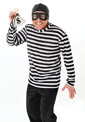 Adult Mens Thief Robber Burglar Fancy Dress Costume Standard M L