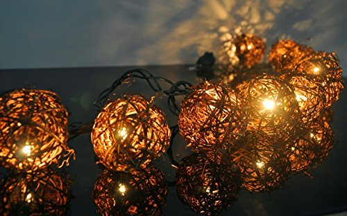 Newest Gbb Brown Rattan Balls String 10 Light Set-Warm White Light Ideal For Christmas, Wedding, Garden And Party