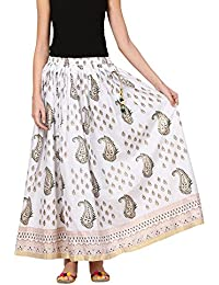 Saadgi Rajasthani Hand Block Printed Handcrafted Ethnic Lehnga Skirt For Women/Girls - B06XG5JHM9