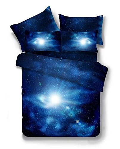 4-Pic-100-Cotton-Queen-Galaxy-Bedding-Set-Duvet-Cover-Fitted-Sheet-Pillowcase-Space-Print-for-Bedding