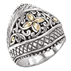 925 Silver Dome Swirl Ring with 18k Gold Accents- Size 6